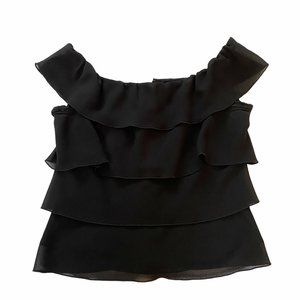 Citrine Top Black Sheer Tiered Size 4